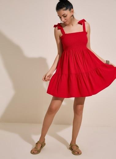 Morhipo Beach Gipe Detaylı Elbise Kırmızı